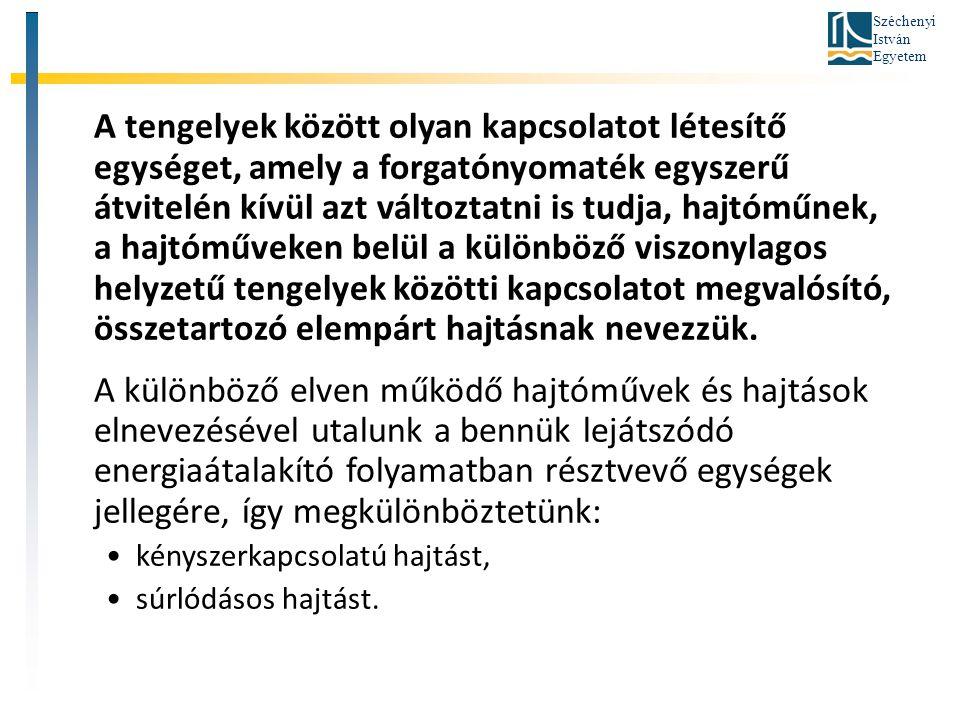Széchenyi István Egyetem Kényszerhajtások fogaskerékhajtás, lánchajtás, karos és bütykös mechanizmusok.