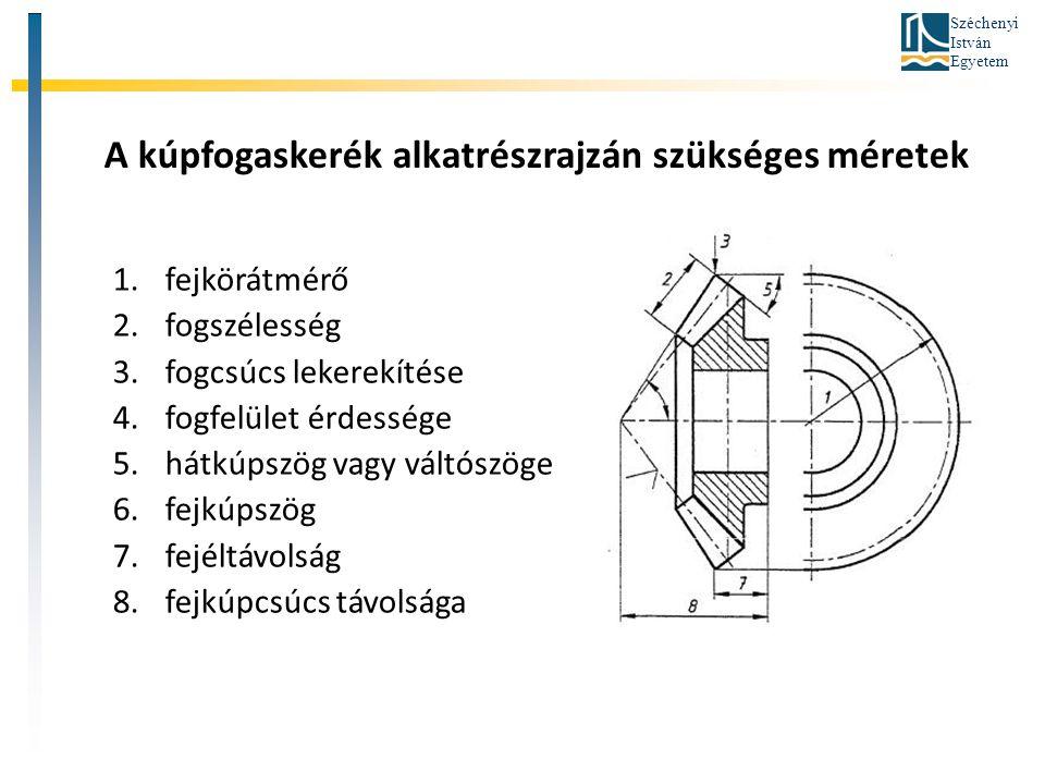Széchenyi István Egyetem A kúpfogaskerék alkatrészrajzán szükséges méretek 1.fejkörátmérő 2.fogszélesség 3.fogcsúcs lekerekítése 4.fogfelület érdesség