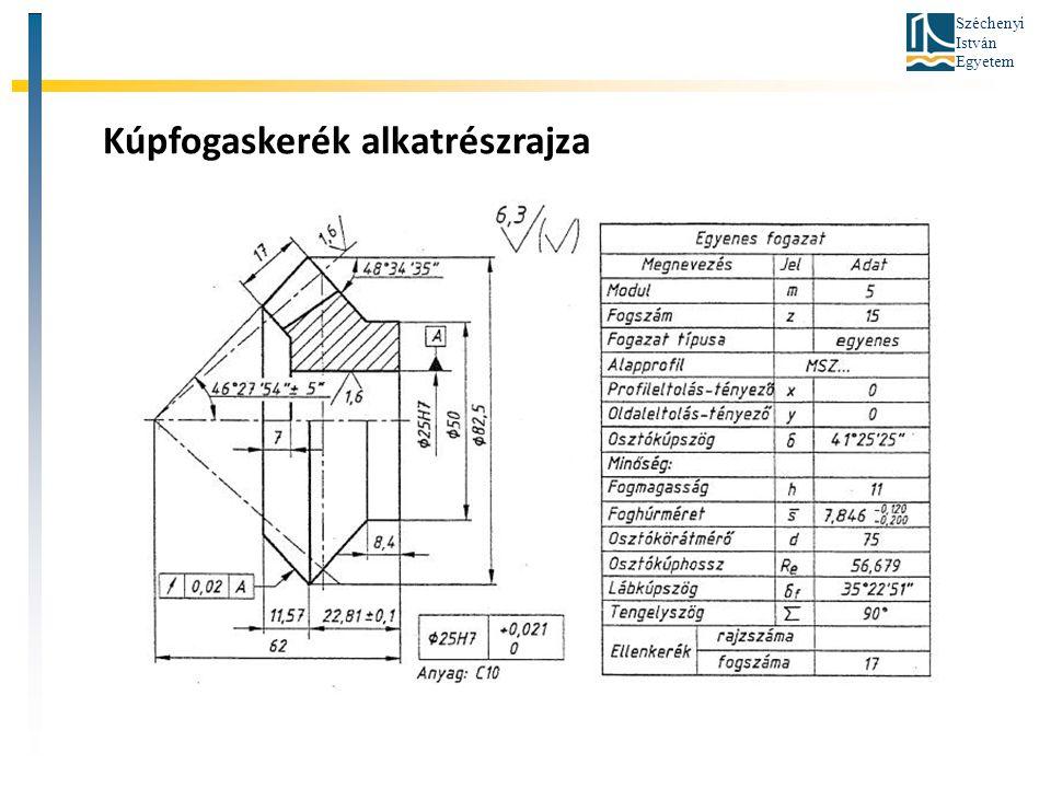 Széchenyi István Egyetem Kúpfogaskerék alkatrészrajza
