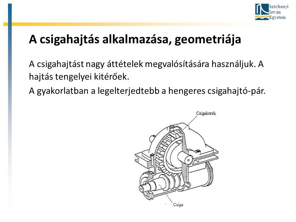 Széchenyi István Egyetem A csigahajtás alkalmazása, geometriája A csigahajtást nagy áttételek megvalósítására használjuk. A hajtás tengelyei kitérőek.