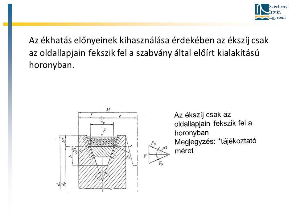 Széchenyi István Egyetem Az ékhatás előnyeinek kihasználása érdekében az ékszíj csak az oldallapjain fekszik fel a szabvány által előírt kialakítású h