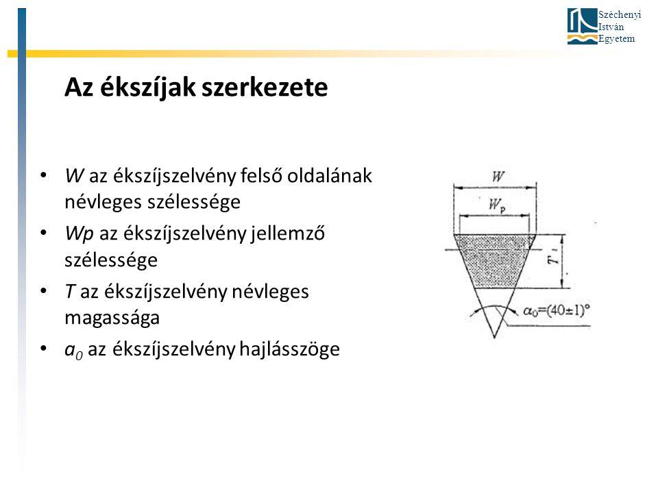 Széchenyi István Egyetem Az ékszíjak szerkezete W az ékszíjszelvény felső oldalának névleges szélessége Wp az ékszíjszelvény jellemző szélessége T az