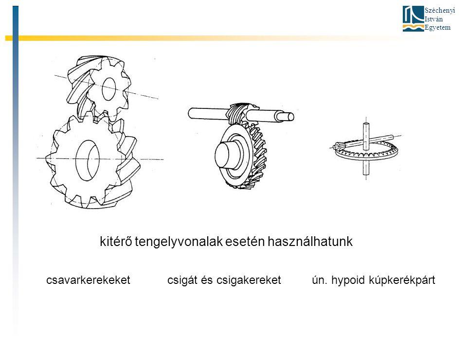 Széchenyi István Egyetem kitérő tengelyvonalak esetén használhatunk csavarkerekeket csigát és csigakereket ún. hypoid kúpkerékpárt