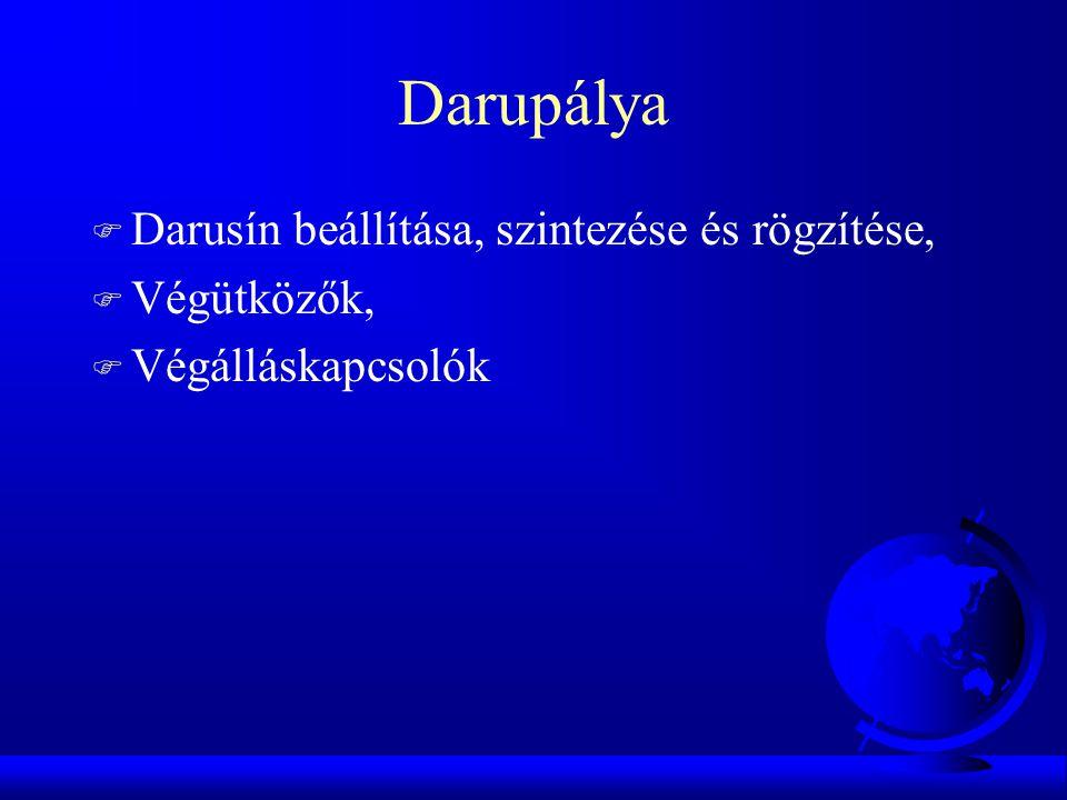 Darupálya F Darusín beállítása, szintezése és rögzítése, F Végütközők, F Végálláskapcsolók