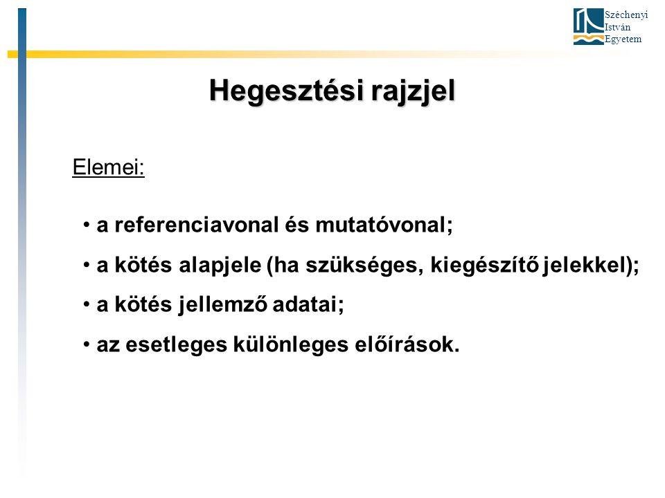 Széchenyi István Egyetem Hegesztési rajzjel Elemei: a referenciavonal és mutatóvonal; a kötés alapjele (ha szükséges, kiegészítő jelekkel); a kötés je