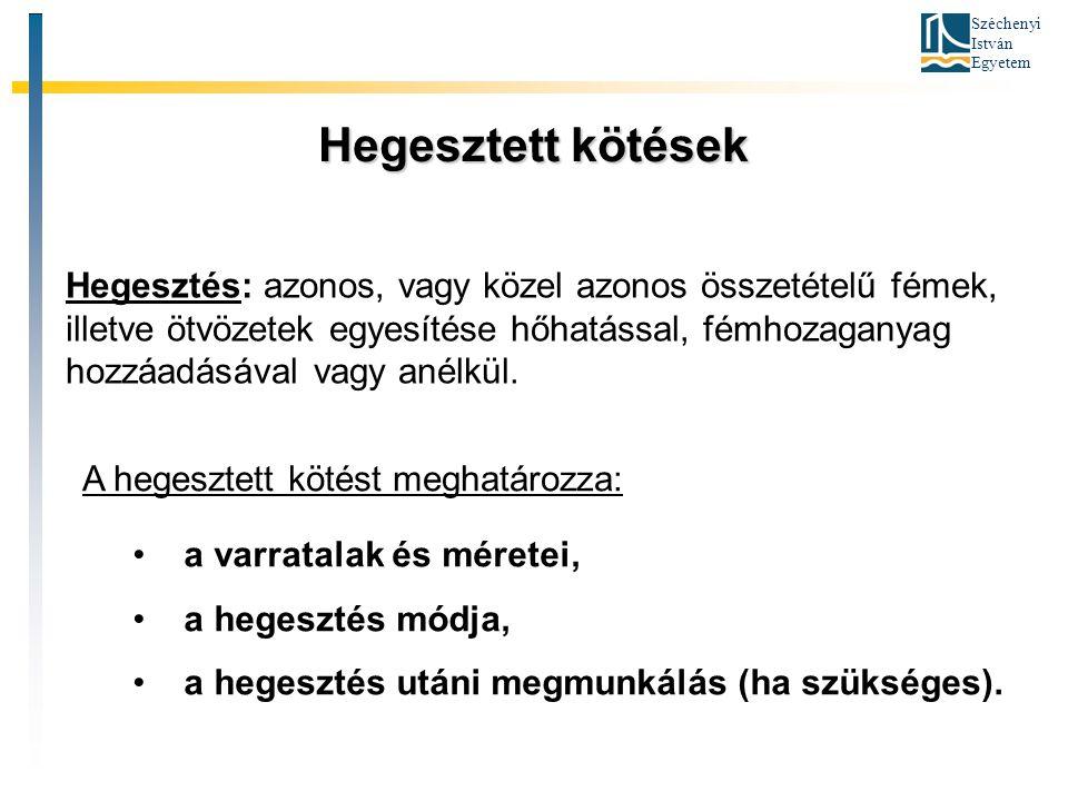 Széchenyi István Egyetem Hegesztett kötések Hegesztés: azonos, vagy közel azonos összetételű fémek, illetve ötvözetek egyesítése hőhatással, fémhozaga