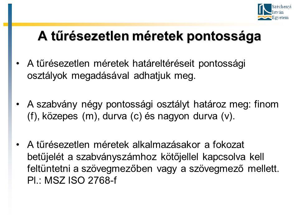 Széchenyi István Egyetem A tűrésezetlen méretek pontossága A tűrésezetlen méretek határeltéréseit pontossági osztályok megadásával adhatjuk meg. A sza