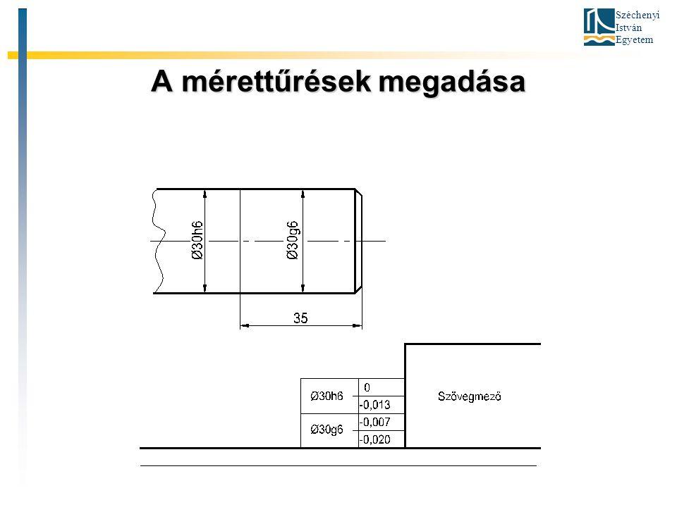 Széchenyi István Egyetem A mérettűrések megadása
