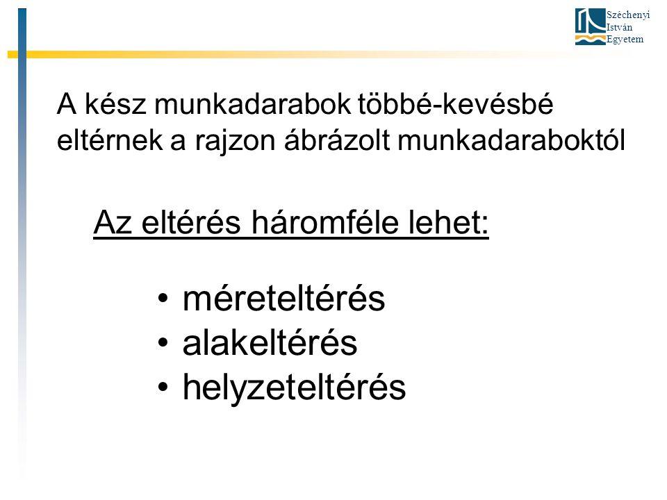 Széchenyi István Egyetem A tűrésezetlen méretek pontossága A tűrésezetlen méretek határeltéréseit pontossági osztályok megadásával adhatjuk meg.