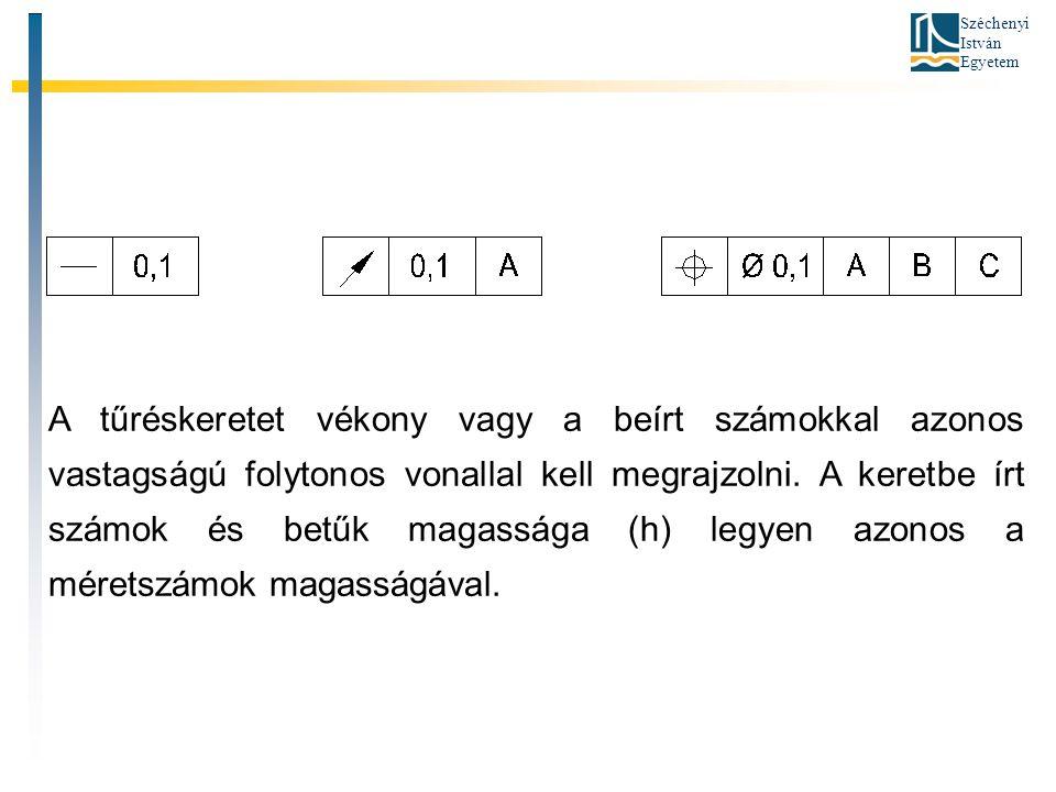 Széchenyi István Egyetem A tűréskeretet vékony vagy a beírt számokkal azonos vastagságú folytonos vonallal kell megrajzolni. A keretbe írt számok és b