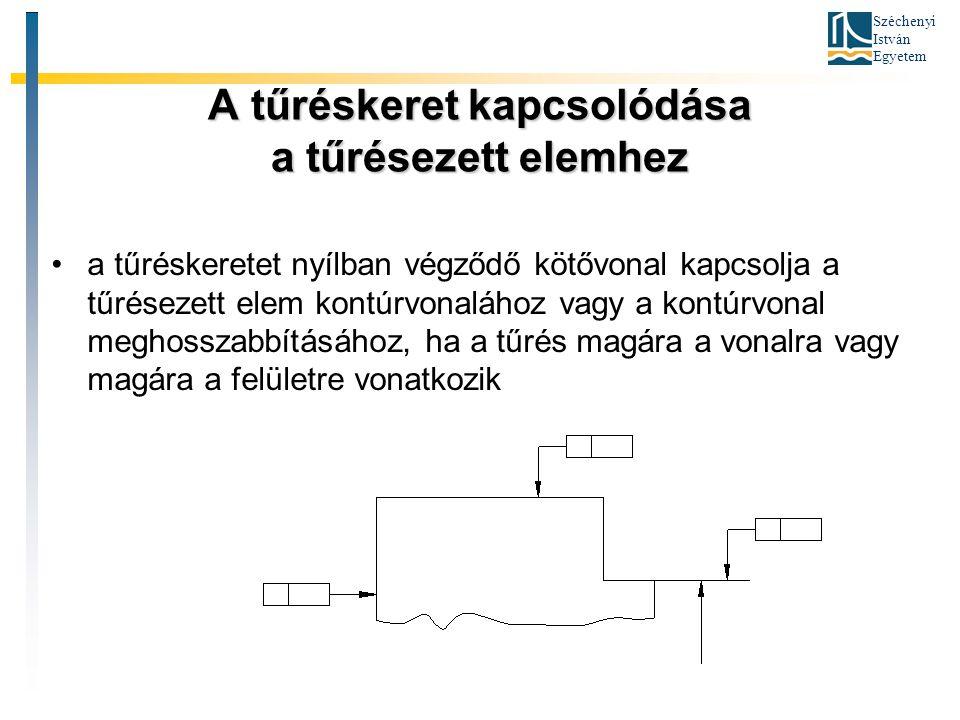 Széchenyi István Egyetem A tűréskeret kapcsolódása a tűrésezett elemhez a tűréskeretet nyílban végződő kötővonal kapcsolja a tűrésezett elem kontúrvon