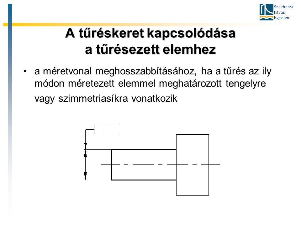 Széchenyi István Egyetem A tűréskeret kapcsolódása a tűrésezett elemhez a méretvonal meghosszabbításához, ha a tűrés az ily módon méretezett elemmel m