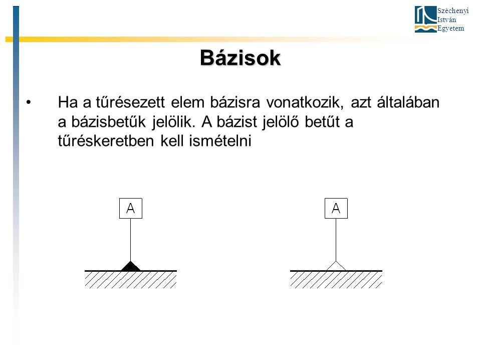 Széchenyi István Egyetem Bázisok Ha a tűrésezett elem bázisra vonatkozik, azt általában a bázisbetűk jelölik. A bázist jelölő betűt a tűréskeretben ke