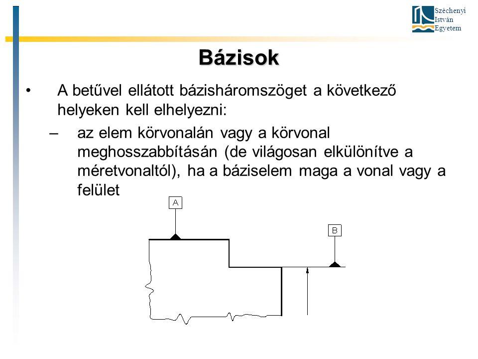 Széchenyi István Egyetem Bázisok A betűvel ellátott bázisháromszöget a következő helyeken kell elhelyezni: –az elem körvonalán vagy a körvonal meghoss
