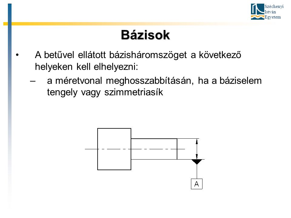 Széchenyi István Egyetem Bázisok A betűvel ellátott bázisháromszöget a következő helyeken kell elhelyezni: –a méretvonal meghosszabbításán, ha a bázis
