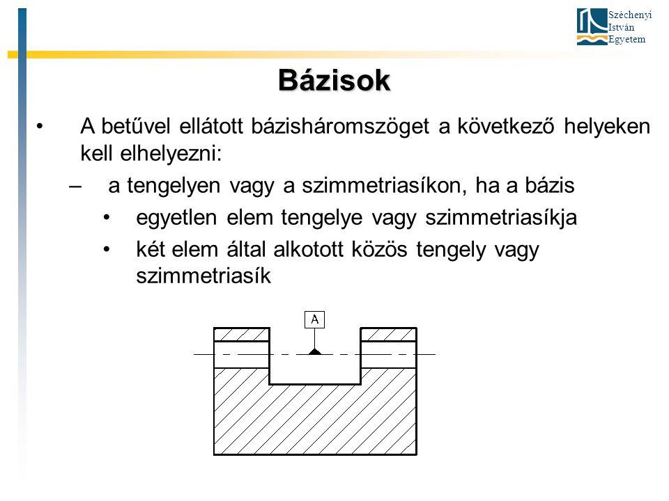 Széchenyi István Egyetem Bázisok A betűvel ellátott bázisháromszöget a következő helyeken kell elhelyezni: –a tengelyen vagy a szimmetriasíkon, ha a b