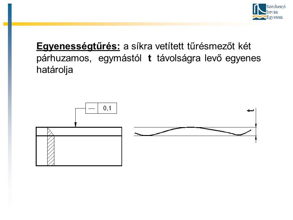 Széchenyi István Egyetem Egyenességtűrés: a síkra vetített tűrésmezőt két párhuzamos, egymástól t távolságra levő egyenes határolja