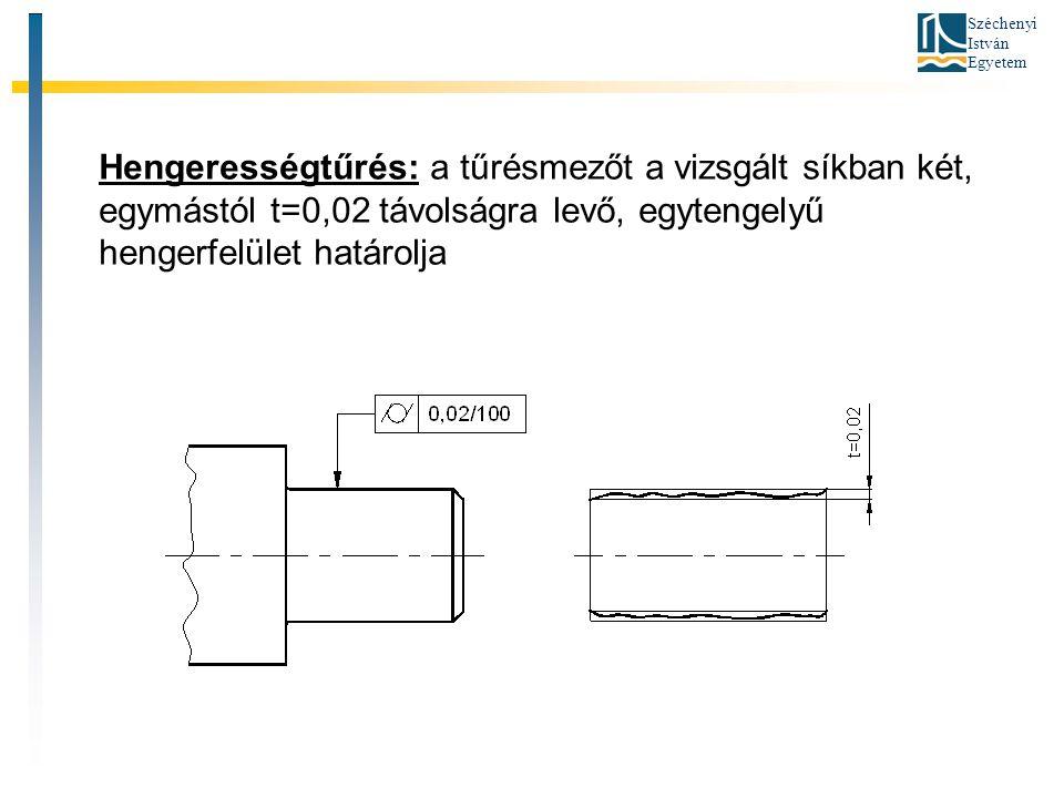 Széchenyi István Egyetem Hengerességtűrés: a tűrésmezőt a vizsgált síkban két, egymástól t=0,02 távolságra levő, egytengelyű hengerfelület határolja