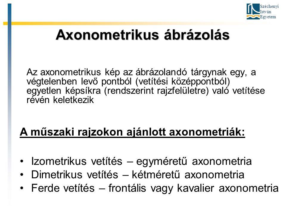 Széchenyi István Egyetem Axonometrikus ábrázolás Az axonometrikus kép az ábrázolandó tárgynak egy, a végtelenben levő pontból (vetítési középpontból)