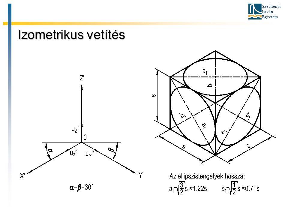 Széchenyi István Egyetem Dimetrikus vetítés A kétméretű vetítést akkor alkalmazzuk, ha az ábrázolandó tárgy egy nézete különösen fontos