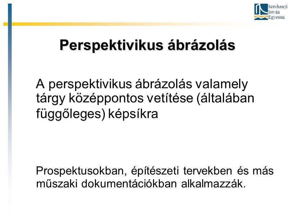 Széchenyi István Egyetem Perspektivikus ábrázolás A perspektivikus ábrázolás valamely tárgy középpontos vetítése (általában függőleges) képsíkra Prosp