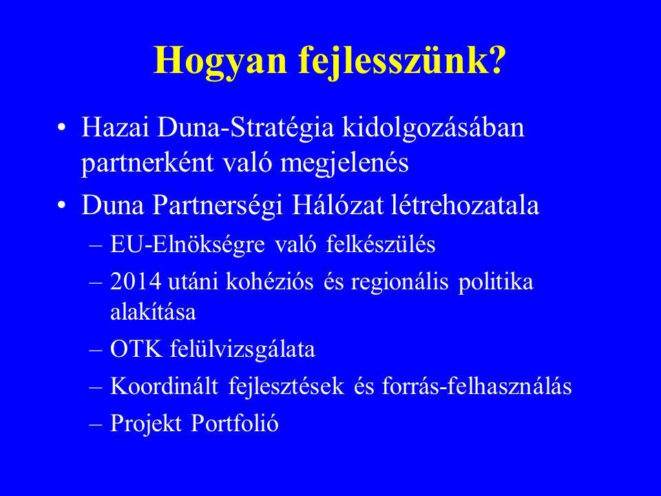 Hogyan fejlesszünk? Hazai Duna-Stratégia kidolgozásában partnerként való megjelenés Duna Partnerségi Hálózat létrehozatala –EU-Elnökségre való felkész