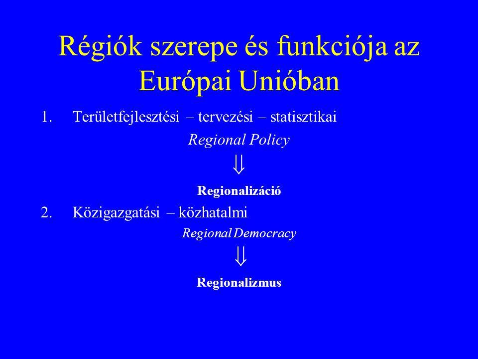 Régiók szerepe és funkciója az Európai Unióban 1.Területfejlesztési – tervezési – statisztikai Regional Policy  Regionalizáció 2.Közigazgatási – közh