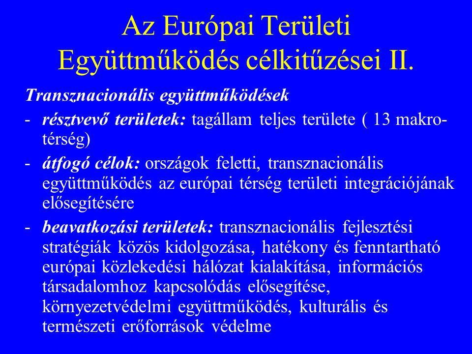 Az Európai Területi Együttműködés célkitűzései II. Transznacionális együttműködések -résztvevő területek: tagállam teljes területe ( 13 makro- térség)