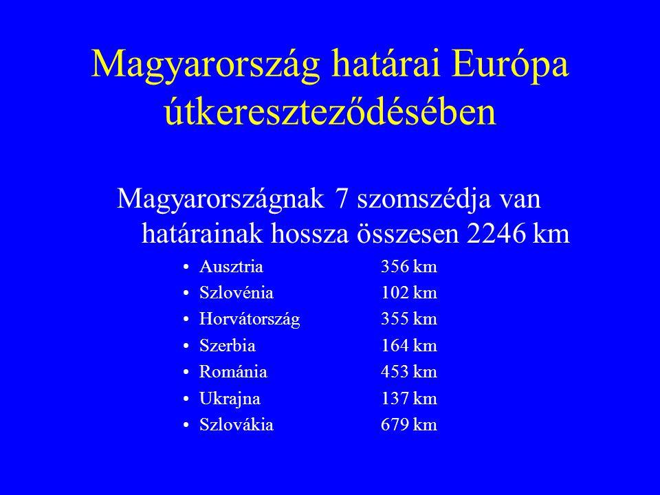 Magyarország határai Európa útkereszteződésében Magyarországnak 7 szomszédja van határainak hossza összesen 2246 km Ausztria 356 km Szlovénia 102 km H
