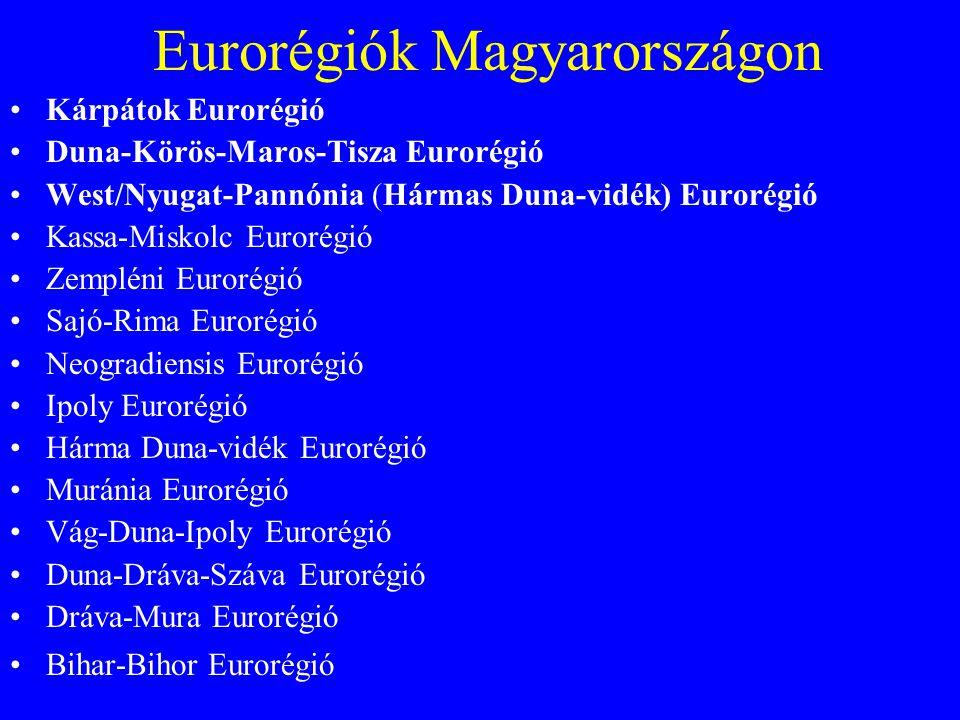 Eurorégiók Magyarországon Kárpátok Eurorégió Duna-Körös-Maros-Tisza Eurorégió West/Nyugat-Pannónia (Hármas Duna-vidék) Eurorégió Kassa-Miskolc Eurorég