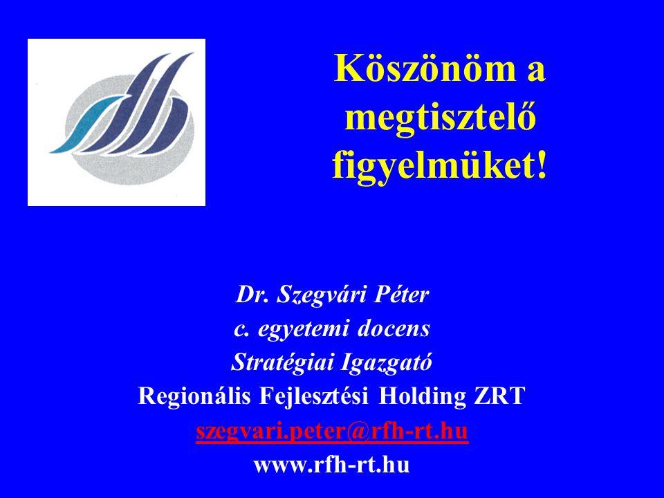Köszönöm a megtisztelő figyelmüket! Dr. Szegvári Péter c. egyetemi docens Stratégiai Igazgató Regionális Fejlesztési Holding ZRT szegvari.peter@rfh-rt
