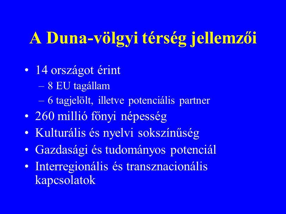 A Duna-völgyi térség jellemzői 14 országot érint –8 EU tagállam –6 tagjelölt, illetve potenciális partner 260 millió főnyi népesség Kulturális és nyel