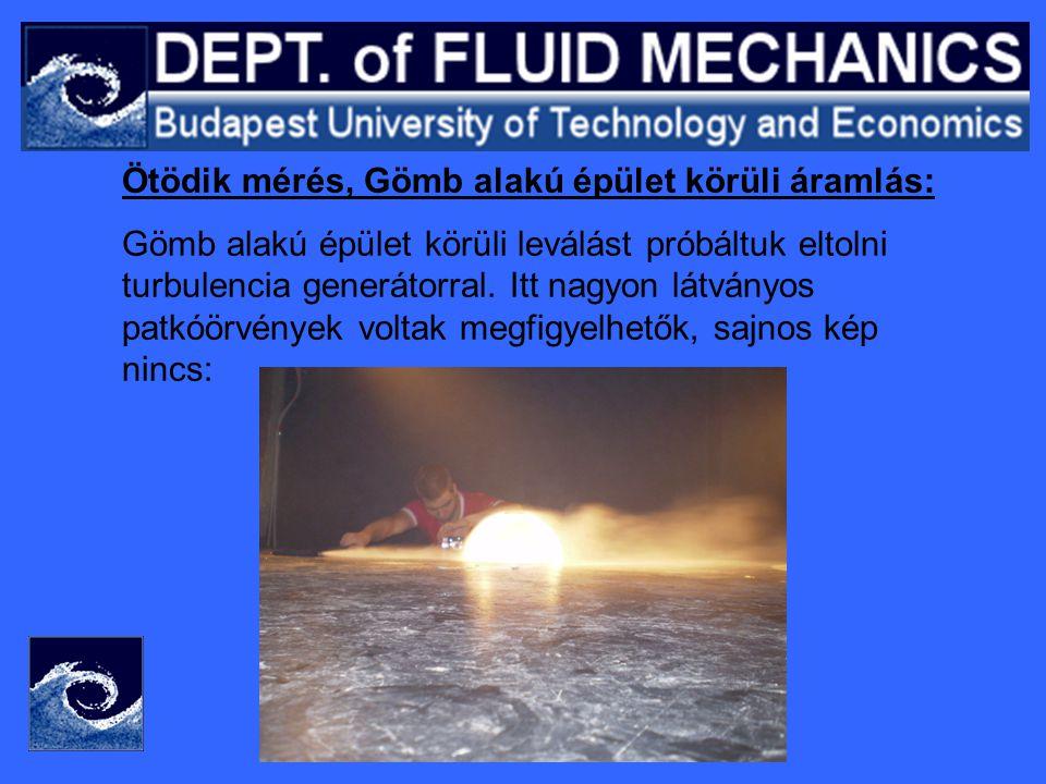 Ötödik mérés, Gömb alakú épület körüli áramlás: Gömb alakú épület körüli leválást próbáltuk eltolni turbulencia generátorral.