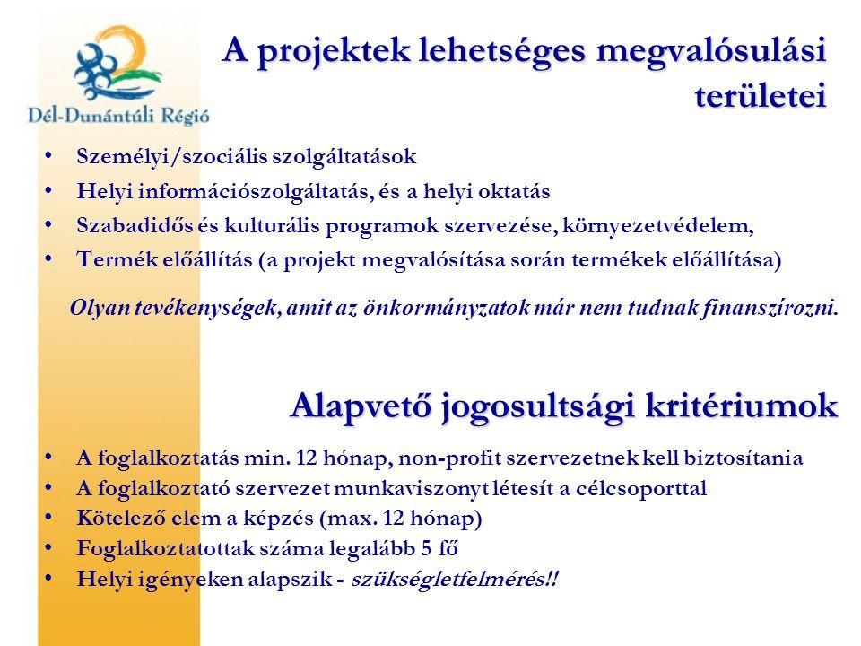 A projektek lehetséges megvalósulási területei Személyi/szociális szolgáltatások Helyi információszolgáltatás, és a helyi oktatás Szabadidős és kulturális programok szervezése, környezetvédelem, Termék előállítás (a projekt megvalósítása során termékek előállítása) Olyan tevékenységek, amit az önkormányzatok már nem tudnak finanszírozni.