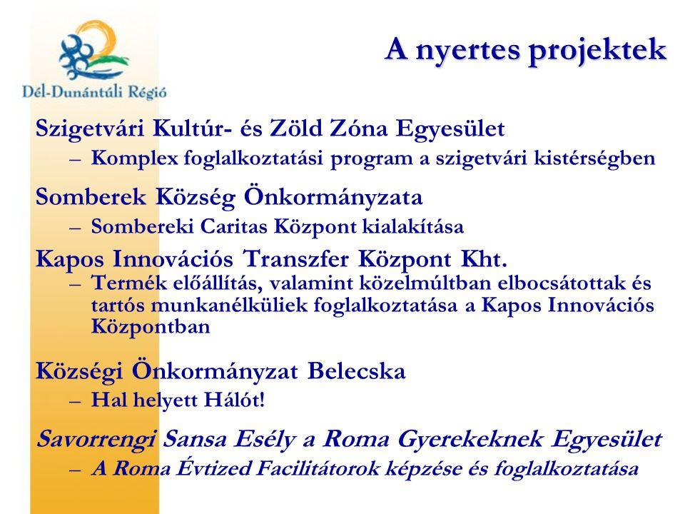 A nyertes projektek Szigetvári Kultúr- és Zöld Zóna Egyesület –Komplex foglalkoztatási program a szigetvári kistérségben Somberek Község Önkormányzata