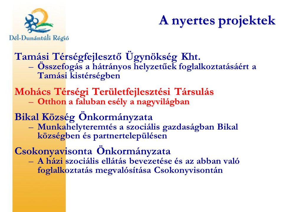 Tamási Térségfejlesztő Ügynökség Kht. –Összefogás a hátrányos helyzetűek foglalkoztatásáért a Tamási kistérségben Mohács Térségi Területfejlesztési Tá
