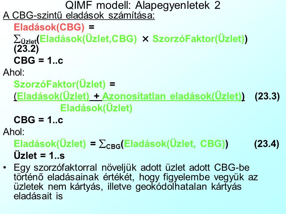QIMF modell: Alapegyenletek 1 Színkódok magyarázata: Tényadatok, paraméterek, becslések Alapegyenlet: Megvizsgáljuk, hogy egy adott CBG potenciális fogyasztásából hány százalékot szereznek meg a saját láncunk üzletei együttesen: Eladások(CBG) = Potenciális eladások(CBG) × Piaci részesedés(CBG) CBG = 1..c(23.1) A tényleges és a potenciális eladások arányát a következő tényezők befolyásolják: –A CBG közelében levő üzleteink tulajdonságai.