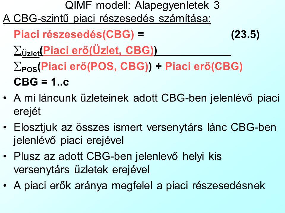 QIMF modell: Alapegyenletek 2 A CBG-szintű eladások számítása: Eladások(CBG) =  Üzlet (Eladások(Üzlet,CBG) × SzorzóFaktor(Üzlet)) (23.2) CBG = 1..c Ahol: SzorzóFaktor(Üzlet) = (Eladások(Üzlet) + Azonosítatlan eladások(Üzlet)) (23.3) Eladások(Üzlet) CBG = 1..c Ahol: Eladások(Üzlet) =  CBG (Eladások(Üzlet, CBG)) (23.4) Üzlet = 1..s Egy szorzófaktorral növeljük adott üzlet adott CBG-be történő eladásainak értékét, hogy figyelembe vegyük az üzletek nem kártyás, illetve geokódolhatalan kártyás eladásait is
