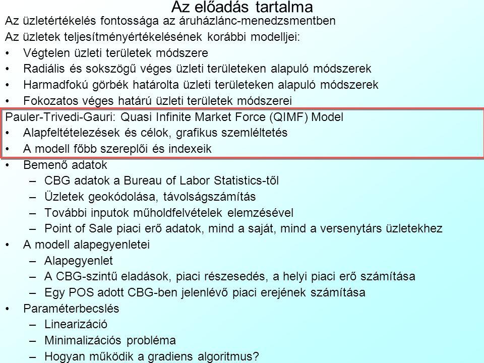QIMF modell: Inputok 3 Kizárolag a saját üzleteknél rendelkezésre álló adatok: Eladások(Üzlet, CBG), $, Üzlet = 1..s, CBG = 1..c – adott üzlet eladásai adott CBG-ben lakó háztartásoknak: –Fogyasztói kártyás eladások a pénztári terminál fájlokból –Fogyasztói kártyák háztartásokba csoportosítása –Fogyasztói kártyás háztartások címének geokódolása –Fogyasztói kártyás háztartások CBG tagságának azonosítása Azonosítathatatlan eladások(Üzlet), $, Üzlet = 1..s adott üzletben keletkezett: –nem fogyasztói kártyás, vagy –geokódolhatatlan című fogyasztói kártyás eladások –A pénztári terminál fájlokból Láncok adatai: Tagság(POS, Lánc)  {0,1}, POS = 1..p, Lánc =1..l – bináris konstansok, amelyek adott POS adott láncban való tagságát mutatják (0-nem, 1-igen)