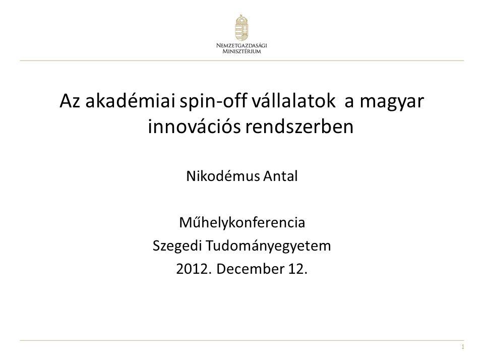 1 Az akadémiai spin-off vállalatok a magyar innovációs rendszerben Nikodémus Antal Műhelykonferencia Szegedi Tudományegyetem 2012. December 12.