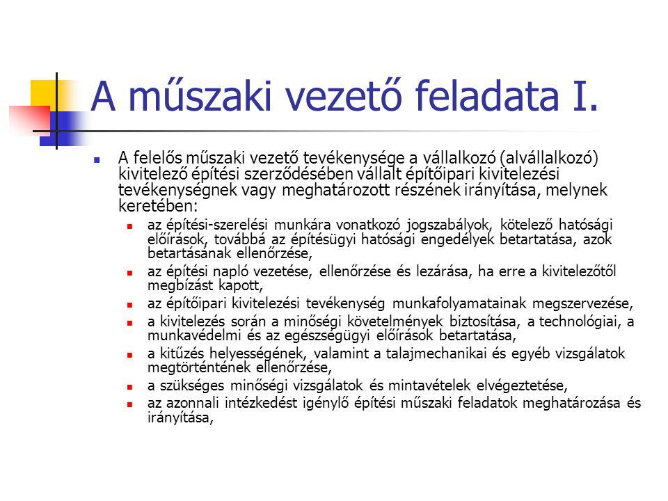 A műszaki vezető feladata I. A felelős műszaki vezető tevékenysége a vállalkozó (alvállalkozó) kivitelező építési szerződésében vállalt építőipari kiv