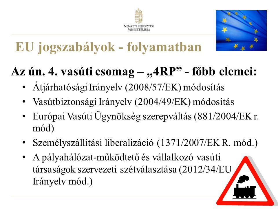 """15 EU jogszabályok - folyamatban Az ún. 4. vasúti csomag – """"4RP"""" - főbb elemei: Átjárhatósági Irányelv (2008/57/EK) módosítás Vasútbiztonsági Irányelv"""