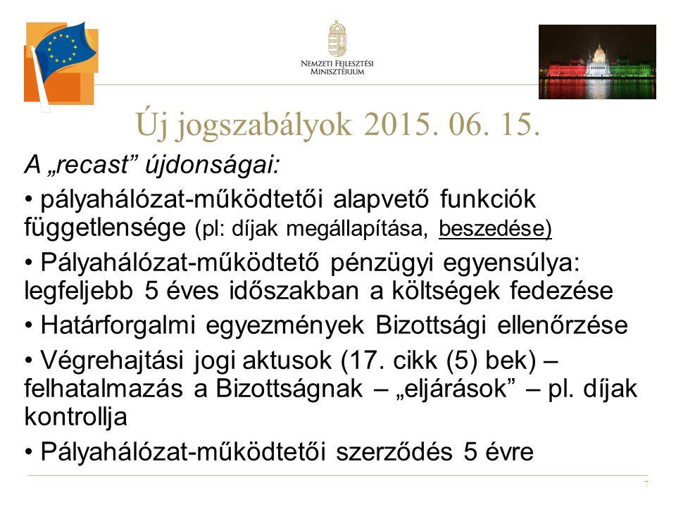 """7 Új jogszabályok 2015. 06. 15. A """"recast"""" újdonságai: pályahálózat-működtetői alapvető funkciók függetlensége (pl: díjak megállapítása, beszedése) Pá"""