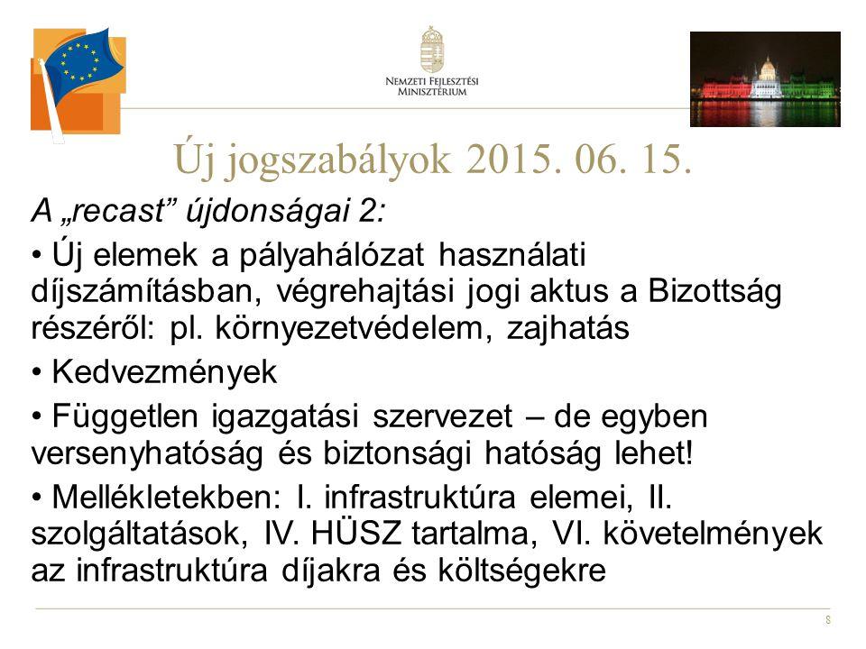 """8 Új jogszabályok 2015. 06. 15. A """"recast"""" újdonságai 2: Új elemek a pályahálózat használati díjszámításban, végrehajtási jogi aktus a Bizottság részé"""