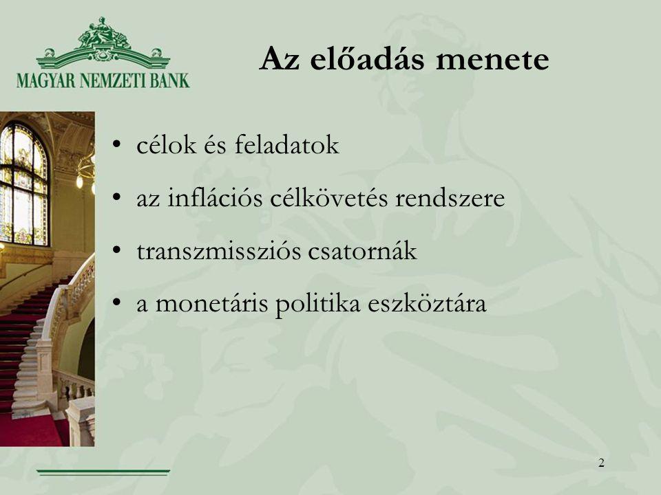 2 Az előadás menete célok és feladatok az inflációs célkövetés rendszere transzmissziós csatornák a monetáris politika eszköztára