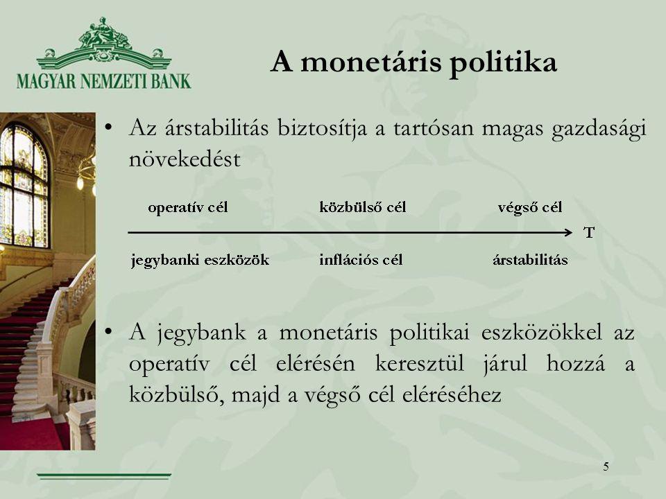 5 A monetáris politika Az árstabilitás biztosítja a tartósan magas gazdasági növekedést A jegybank a monetáris politikai eszközökkel az operatív cél elérésén keresztül járul hozzá a közbülső, majd a végső cél eléréséhez