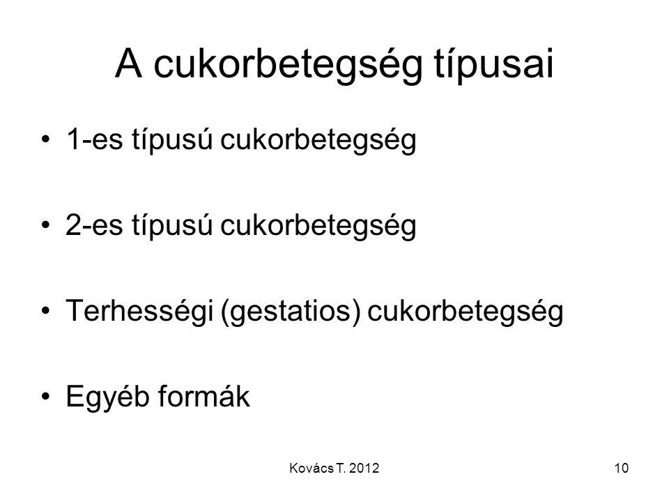 A cukorbetegség típusai 1-es típusú cukorbetegség 2-es típusú cukorbetegség Terhességi (gestatios) cukorbetegség Egyéb formák 10Kovács T. 2012