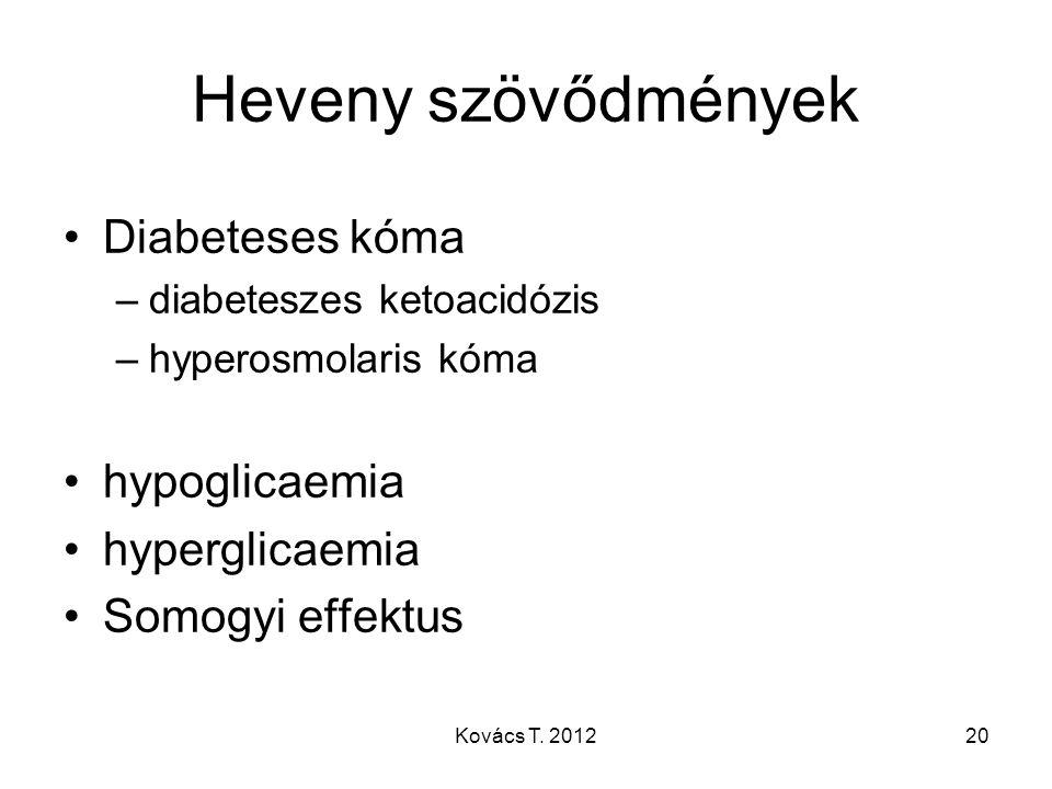 Heveny szövődmények Diabeteses kóma –diabeteszes ketoacidózis –hyperosmolaris kóma hypoglicaemia hyperglicaemia Somogyi effektus 20Kovács T. 2012