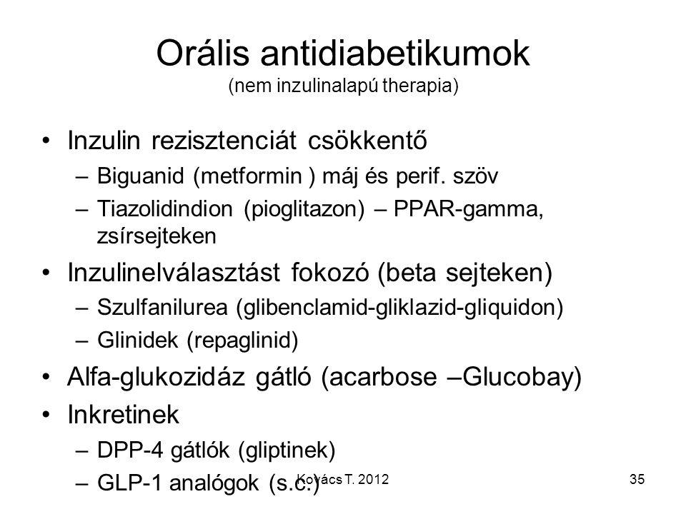 Orális antidiabetikumok (nem inzulinalapú therapia) Inzulin rezisztenciát csökkentő –Biguanid (metformin ) máj és perif. szöv –Tiazolidindion (pioglit