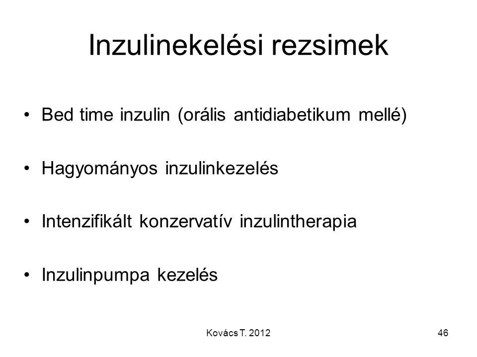 Inzulinekelési rezsimek Bed time inzulin (orális antidiabetikum mellé) Hagyományos inzulinkezelés Intenzifikált konzervatív inzulintherapia Inzulinpum